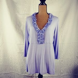 Impulse CA Lavender ruffle neckline top sz XL